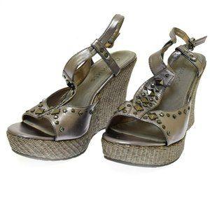 Coconuts Matisse Pewter Silver Wedge Women's Heels 10 M NIB Hollywood